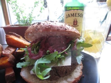 Jameson Burger with Sweet Potato Fries