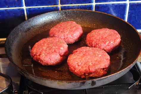 Burgers in the pan