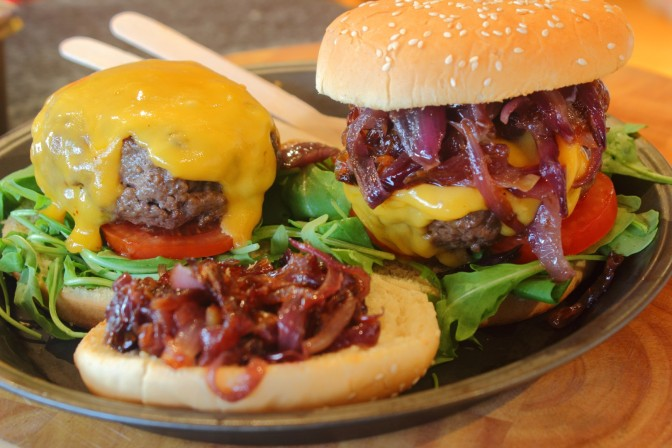 Old School Sliders with Red Onion Relish